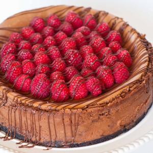 Caramel Raspberry Chocolate Cheesecake