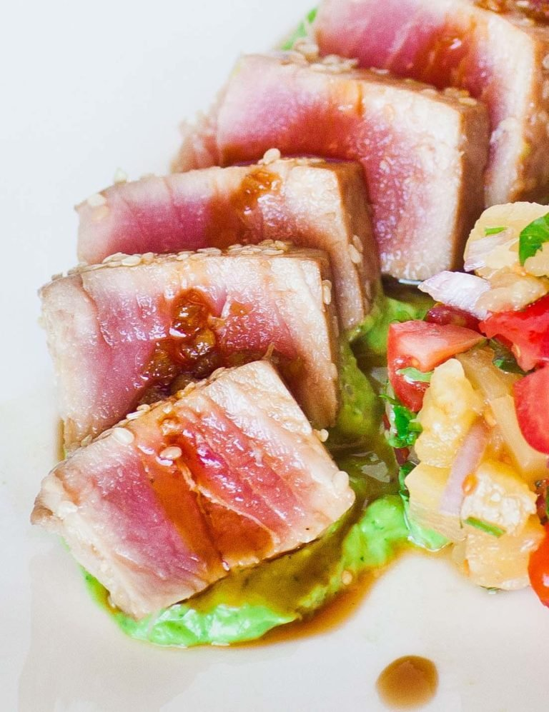 marinated ahi tuna with soy sauce and avocado
