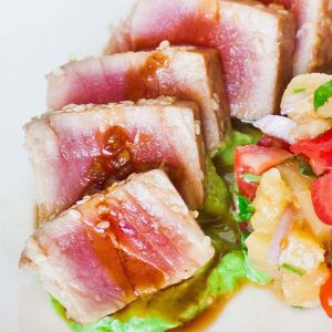 seared ahi tuna with avocado cream