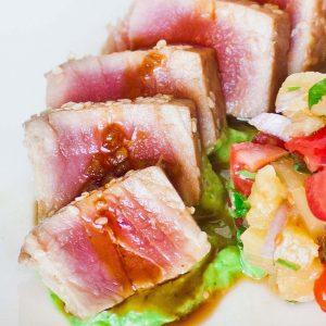 seared ahi tuna with avocado cream