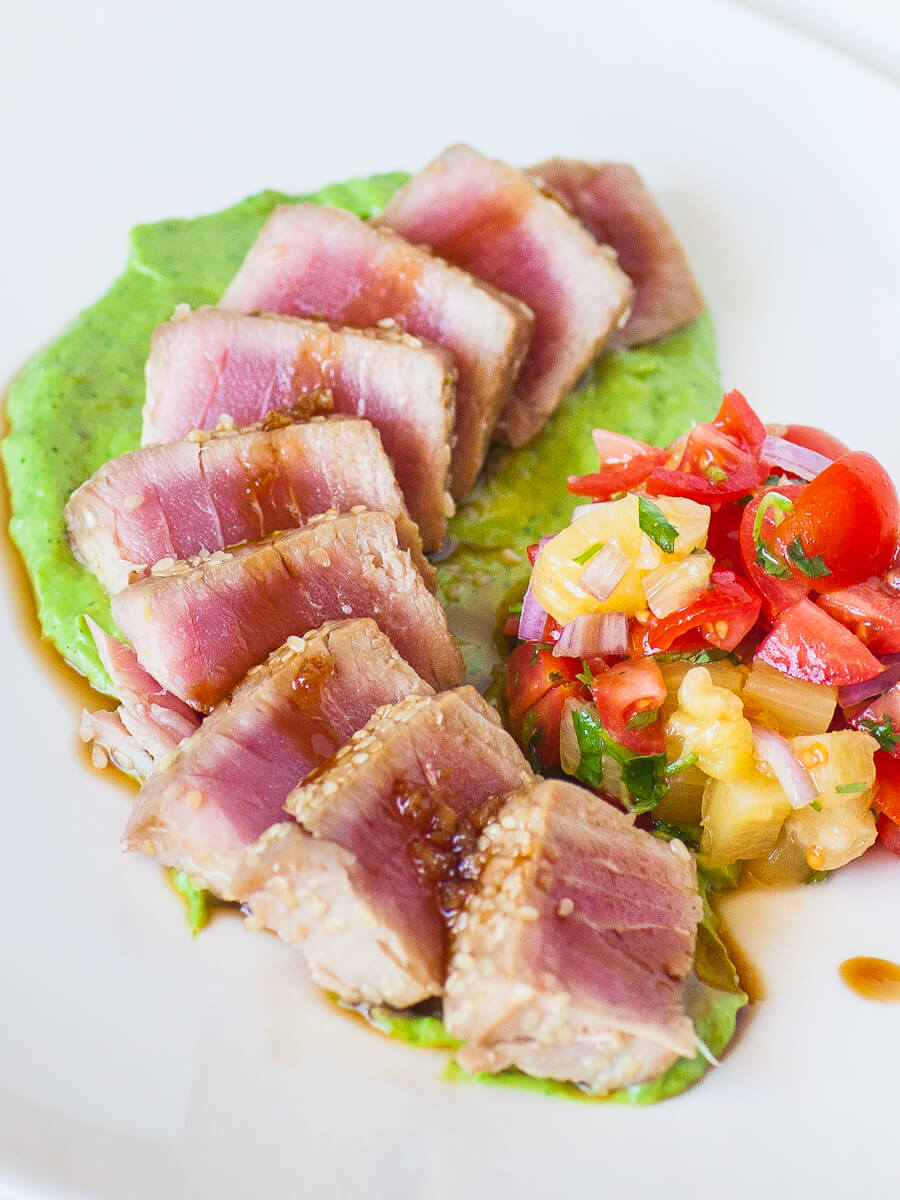 seared ahi tuna recipe with avocado cream and pineapple salsa