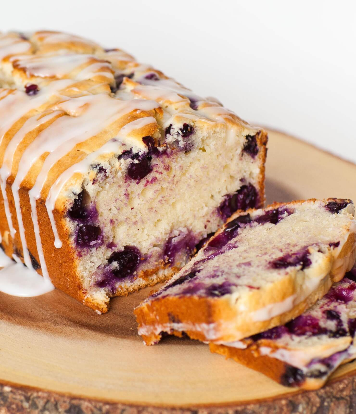 blueberry lemon loaf with glaze