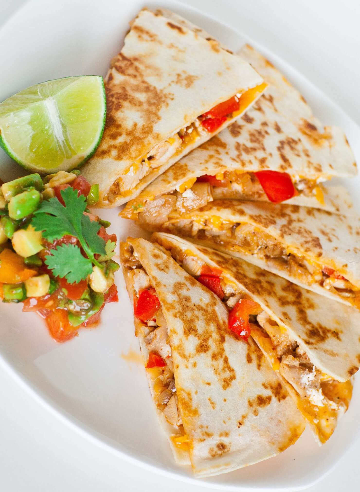 chicken, cheese and pepper quesadillas