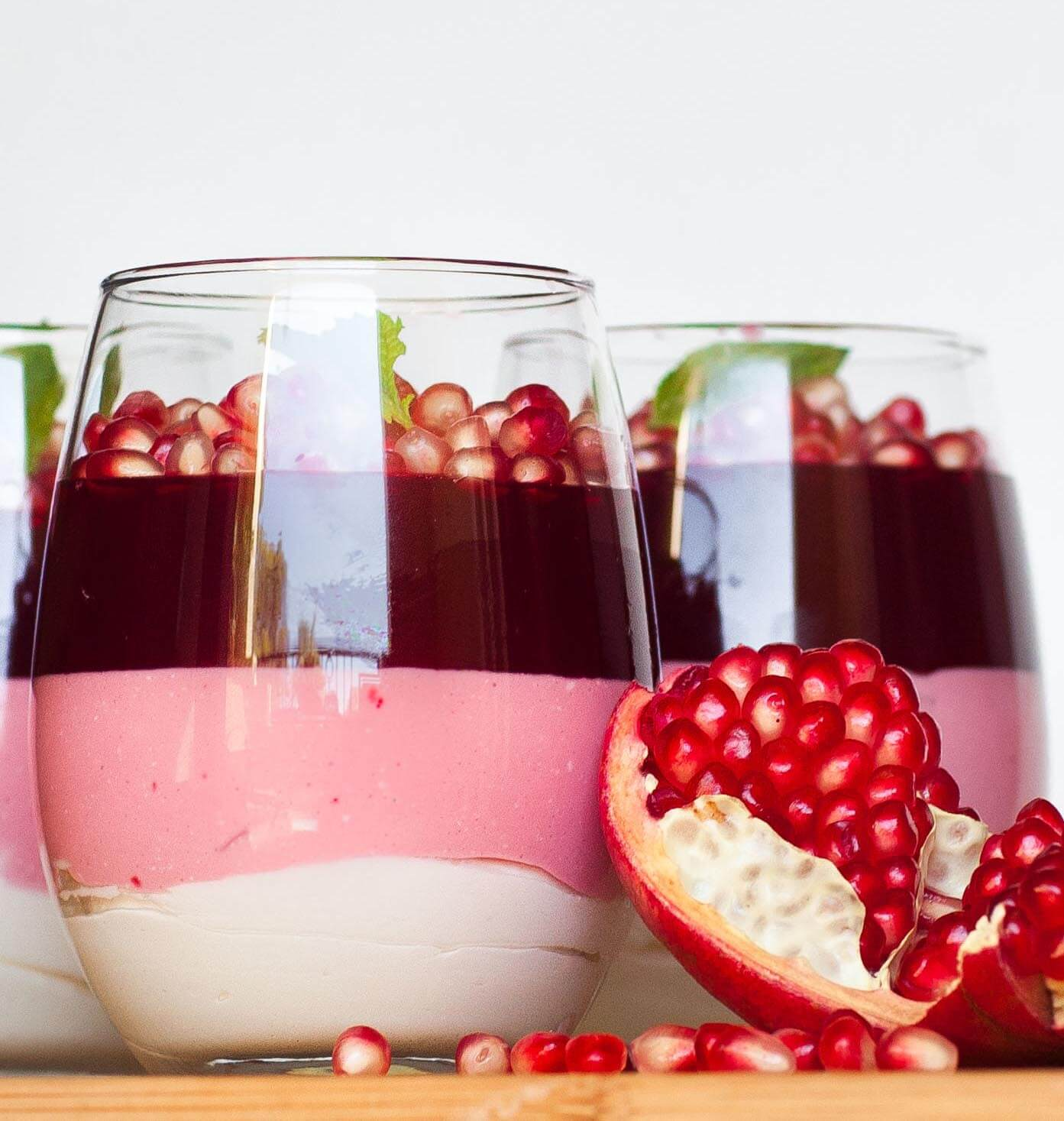 triple layered pomegranate parfait cups