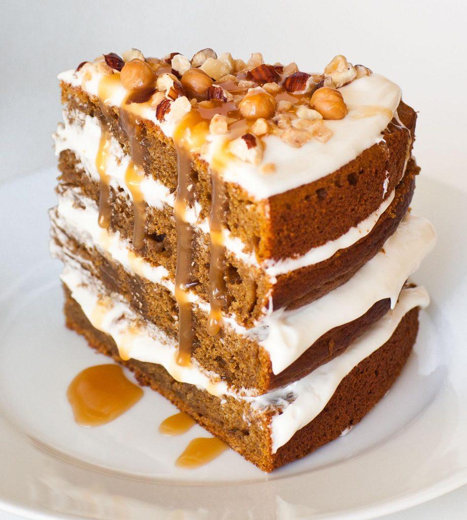 pumpkin spice cake with caramel
