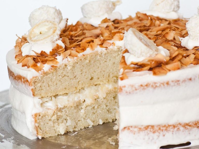 white chocolate coconut cake with coconut buttercream