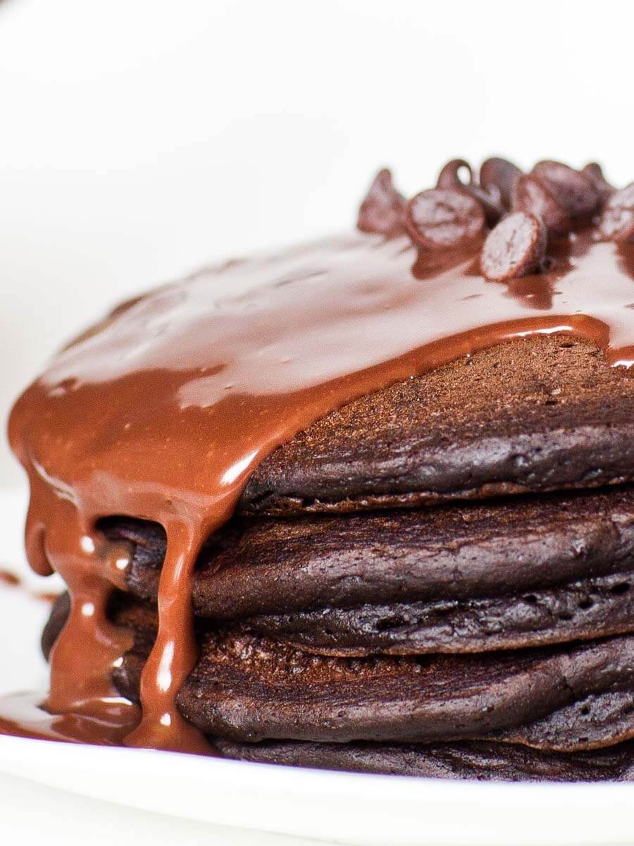 triple chocolate pancakes with buttermilk batter and chocolate syrup