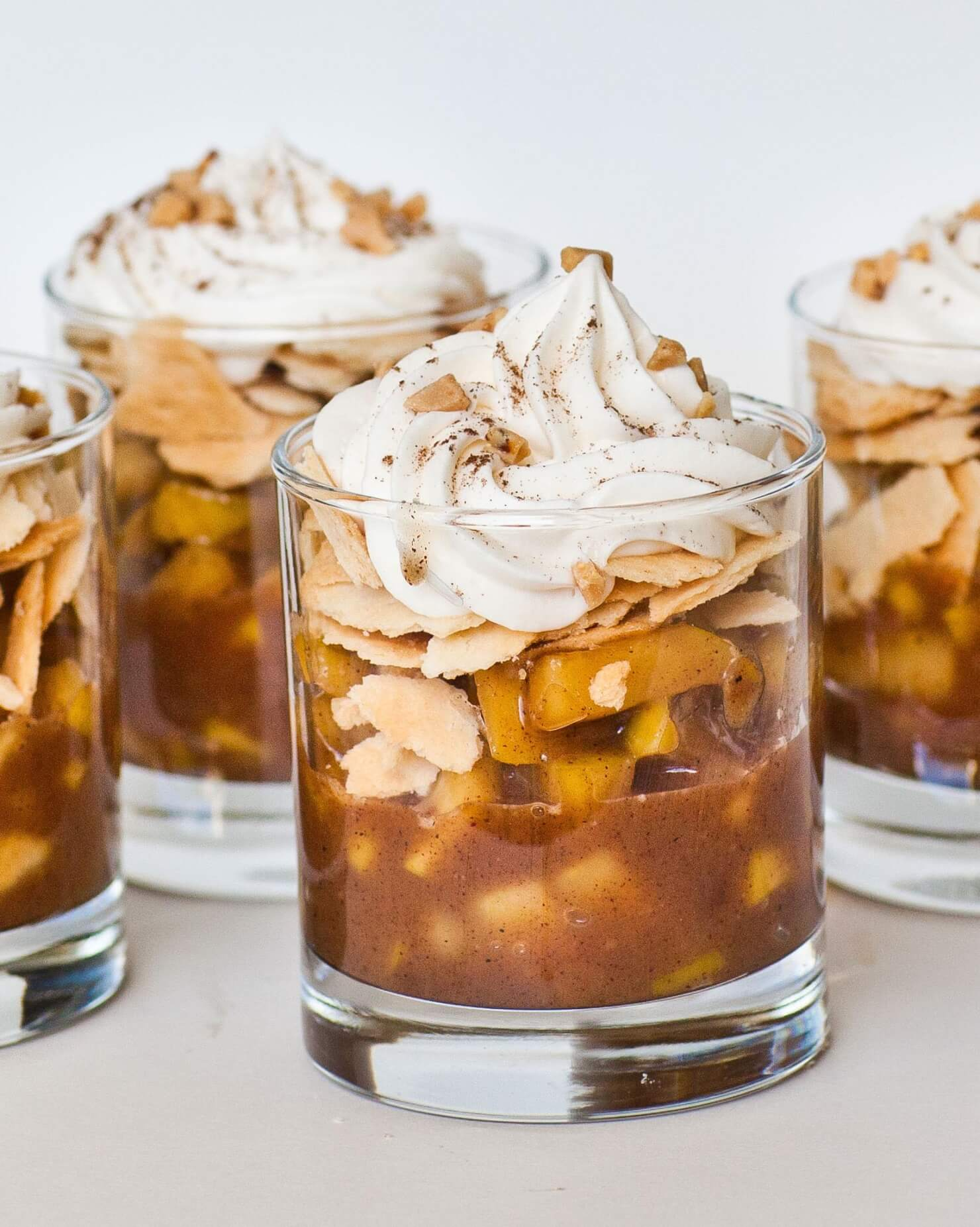 apple pie cups with whipped cream