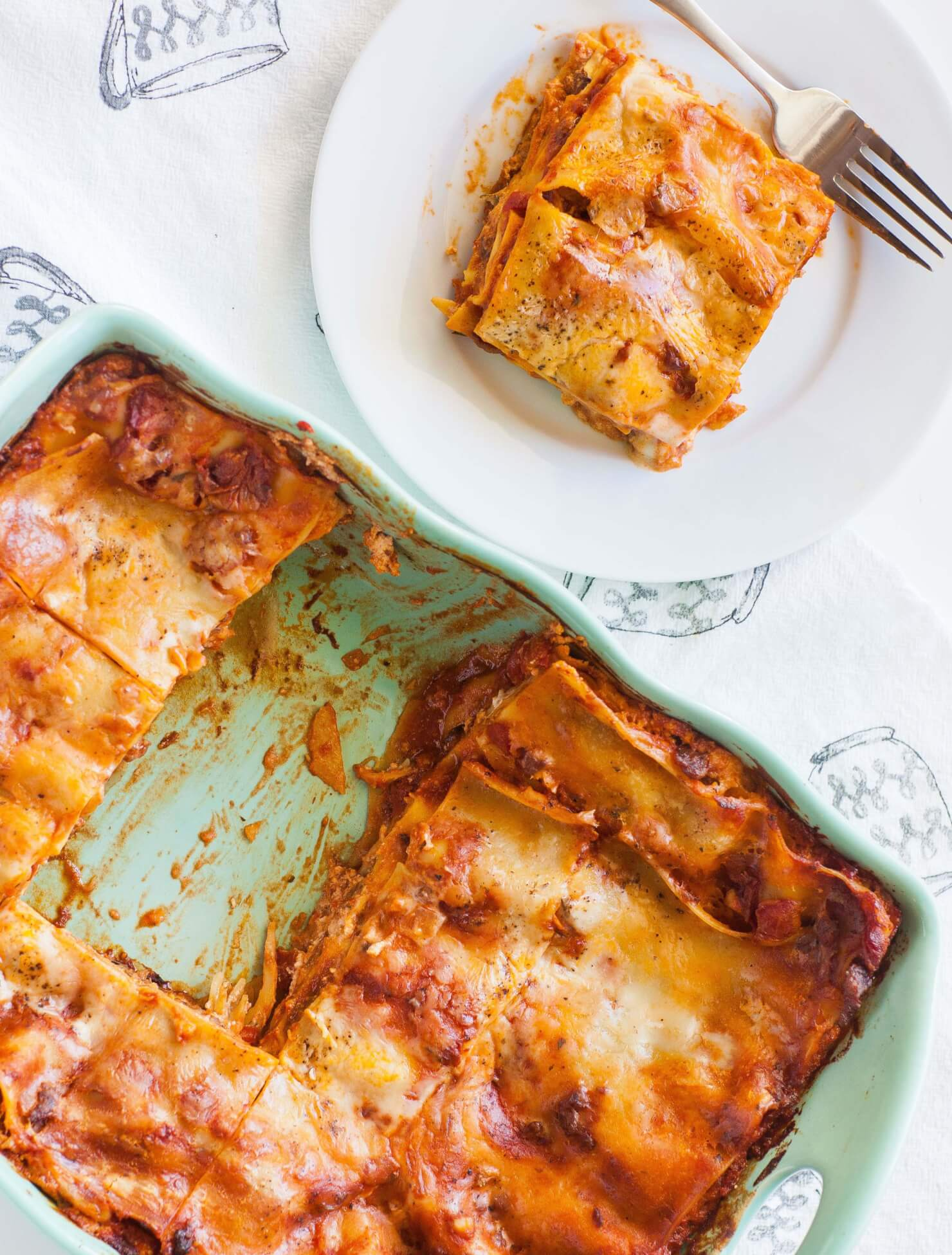 cheese and sausage lasagna on plate