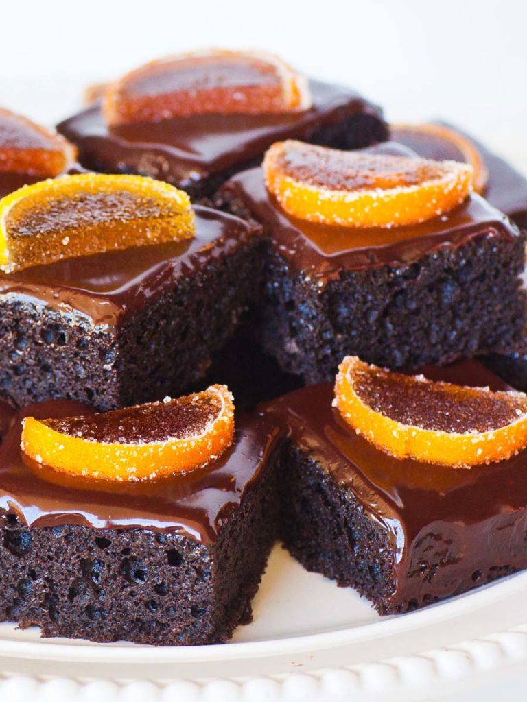 chocolate cake bars with orange marmalade and chocolate ganache