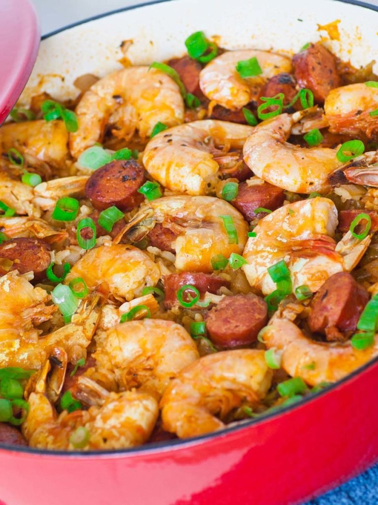 creole jambalaya - easy rice recipe with shrimp and chicken