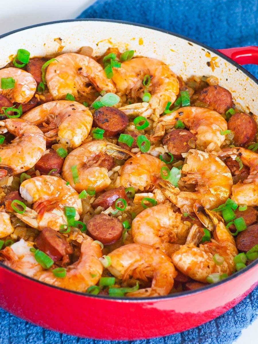 jambalaya with shrimp, chicken and sausage