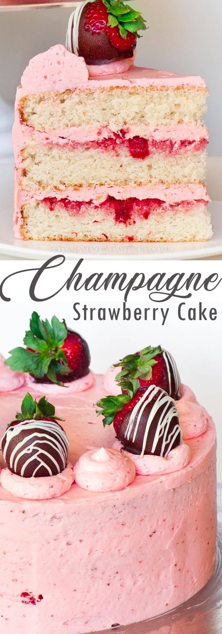 Strawberry Champagne Cake video recipe