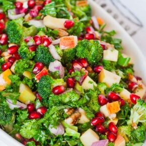 A bowl of kale salad with pomegranate and apples