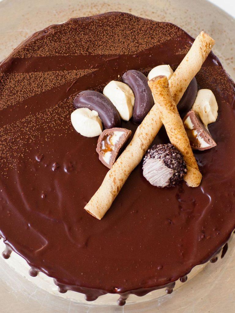 opera cake with french buttercream and chocolate ganache