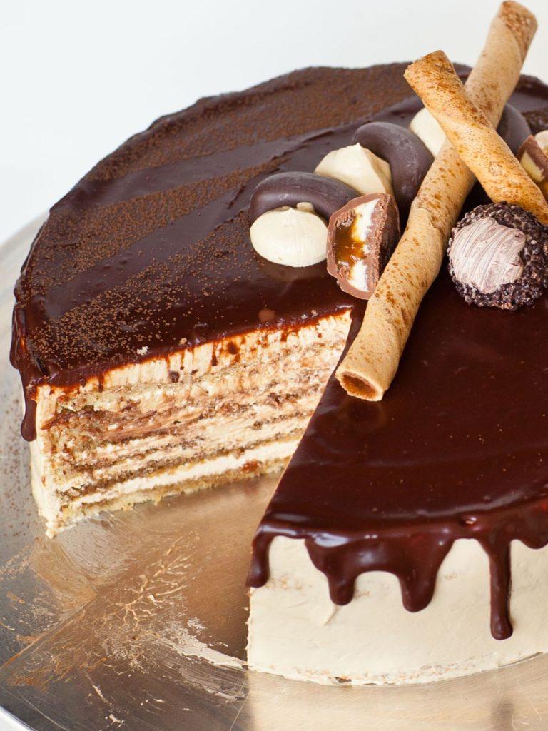 classic french opera cake with chocolate ganache