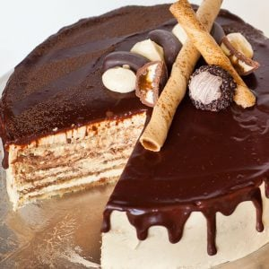 opera cake with chocolate ganache