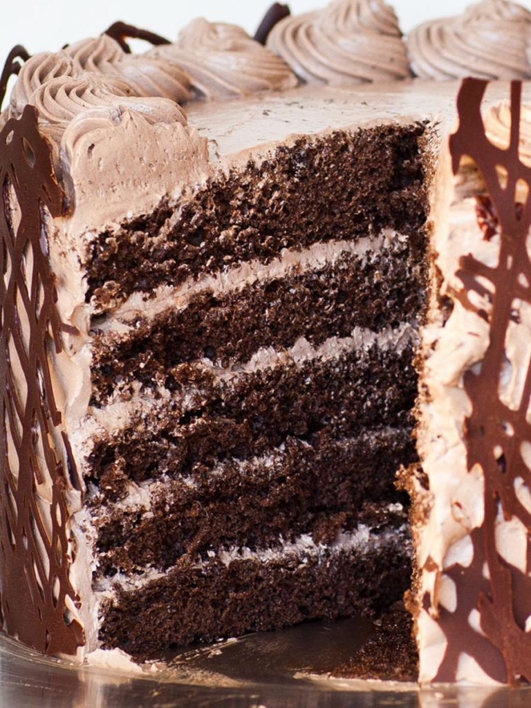 5 layer chocolate sponge cake with chocolate buttercream