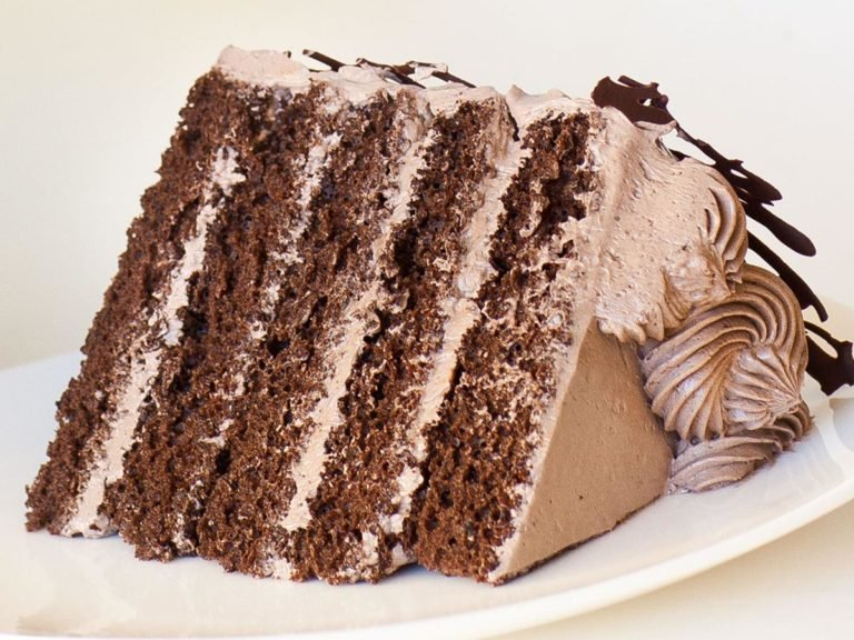 slice of rich chocolate cake with chocolate frosting