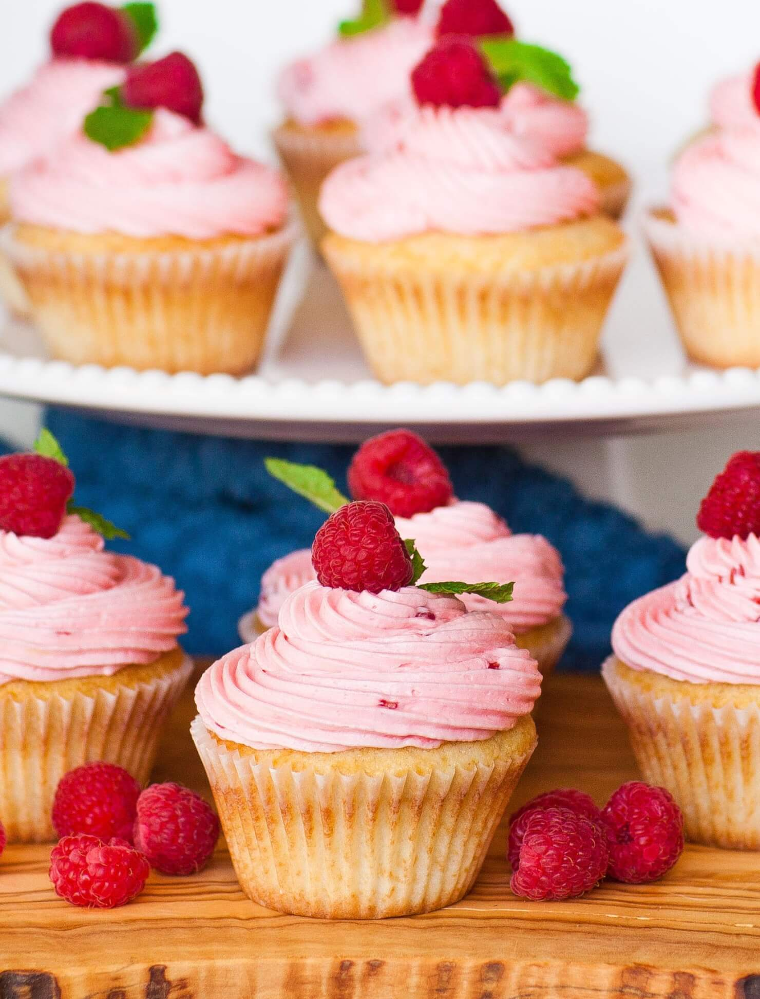 Lemon Surprise Raspberry Cupcakes