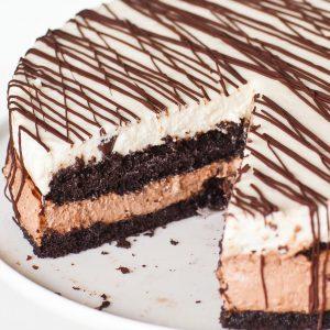 tuxedo chocolate cake with no-bake cheesecake