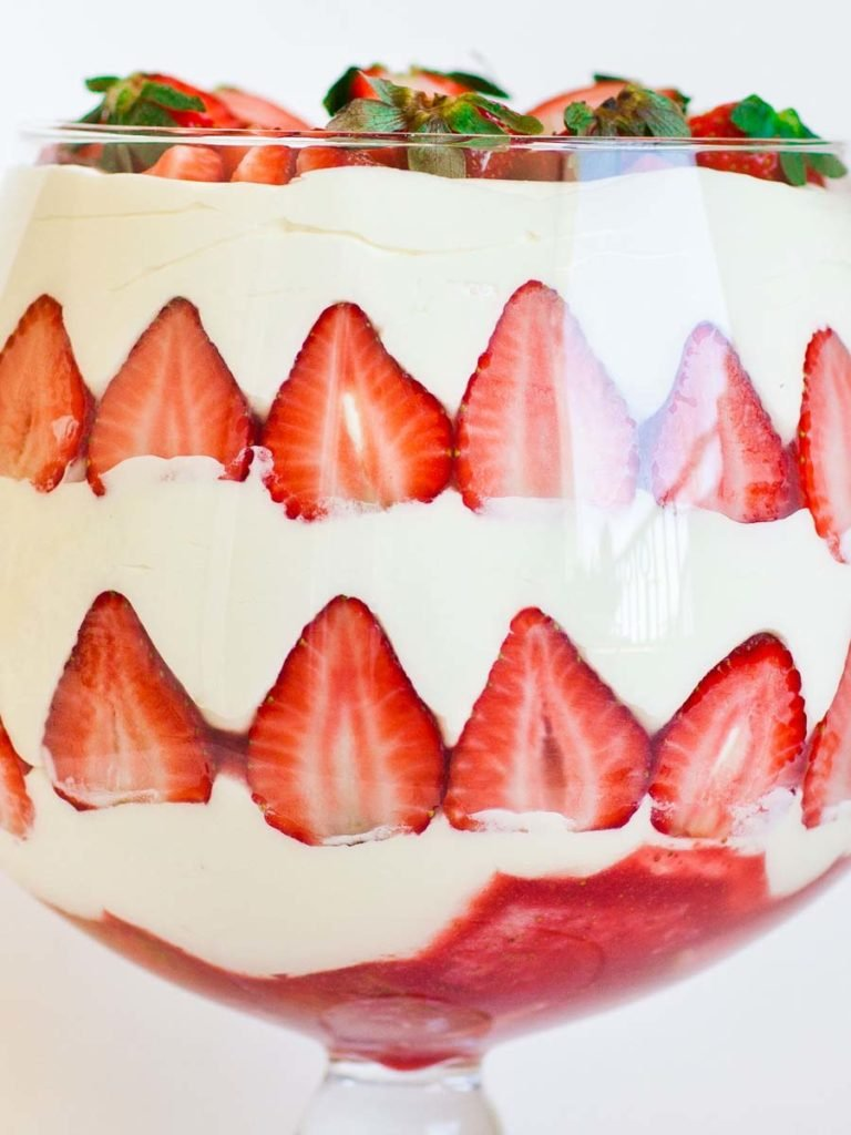 no-bake strawberry dessert trifle with berries