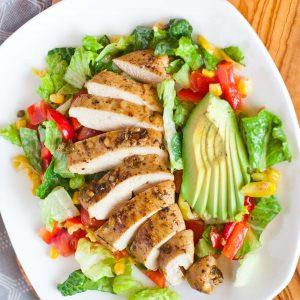 garlic chicken salad with avocado