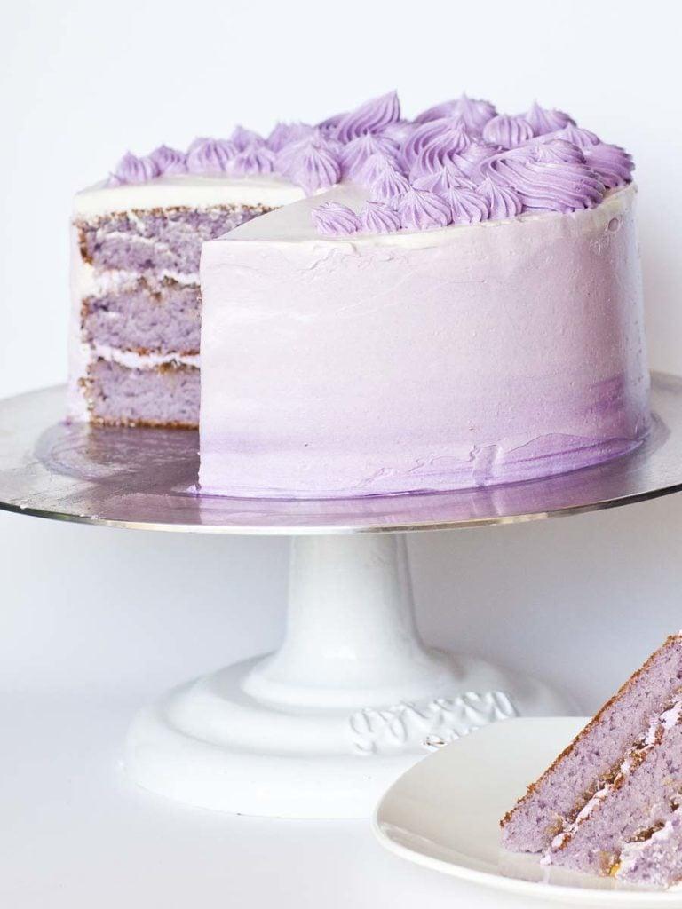 lavender peach cake with lavender buttercream