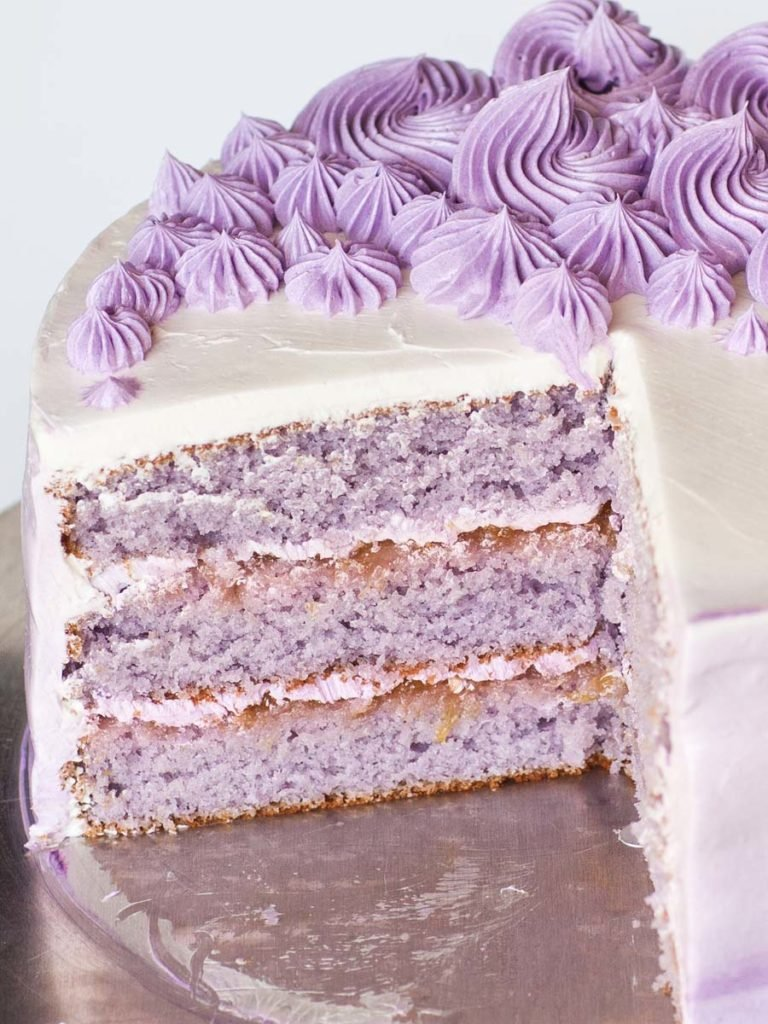 peach lavender cake with peach preserves and ombre frosting