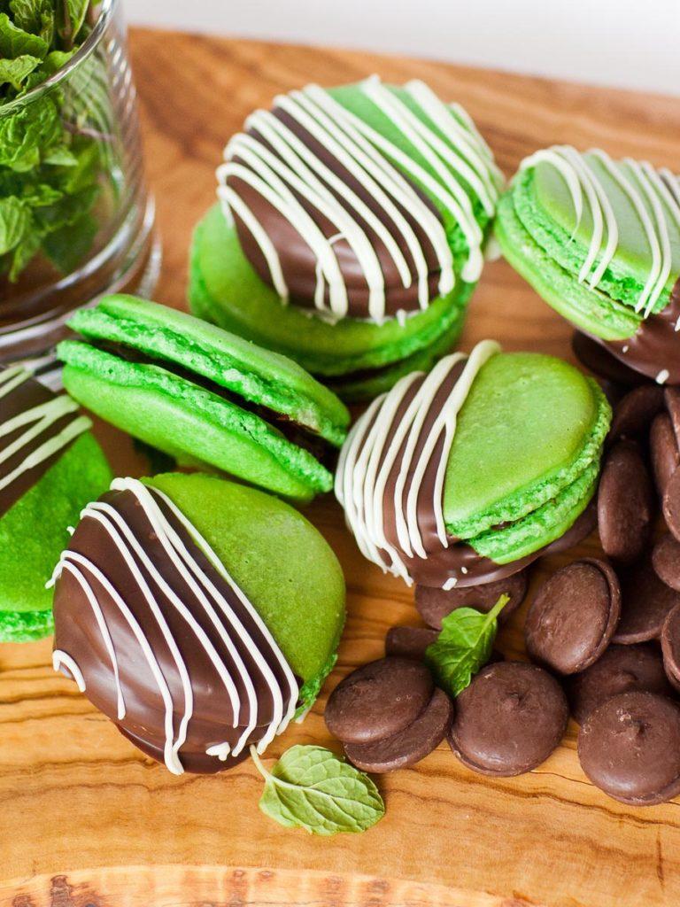 green mint macarons dipped in chocolate, Italian method macarons