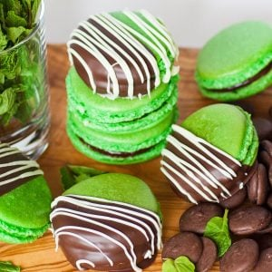 chocolate mint macarons dipped in chocolate