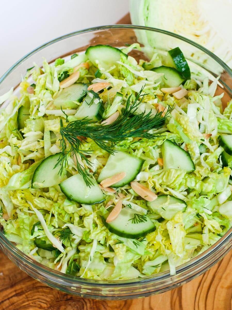 cucumber and cabbage salad with almonds and fresh herbs - easy salad recipe