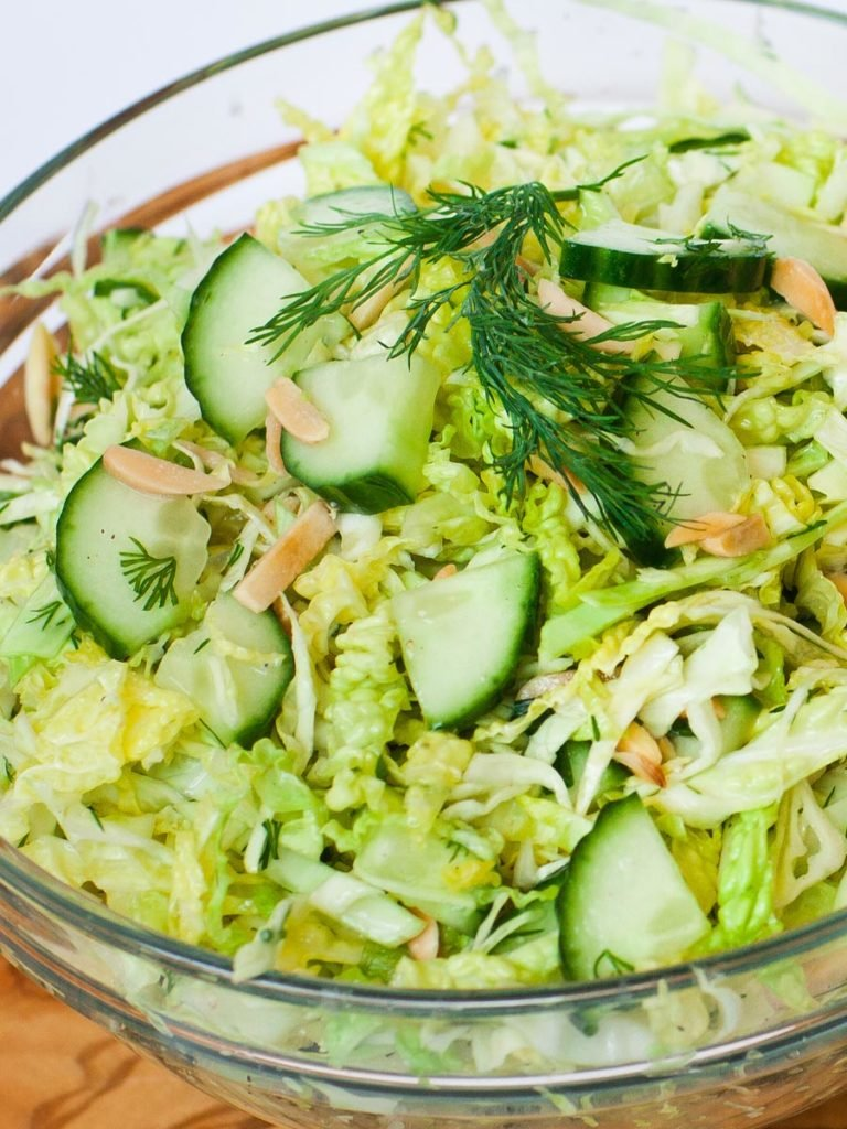 cabbage cucumber salad recipe with dill and green onions