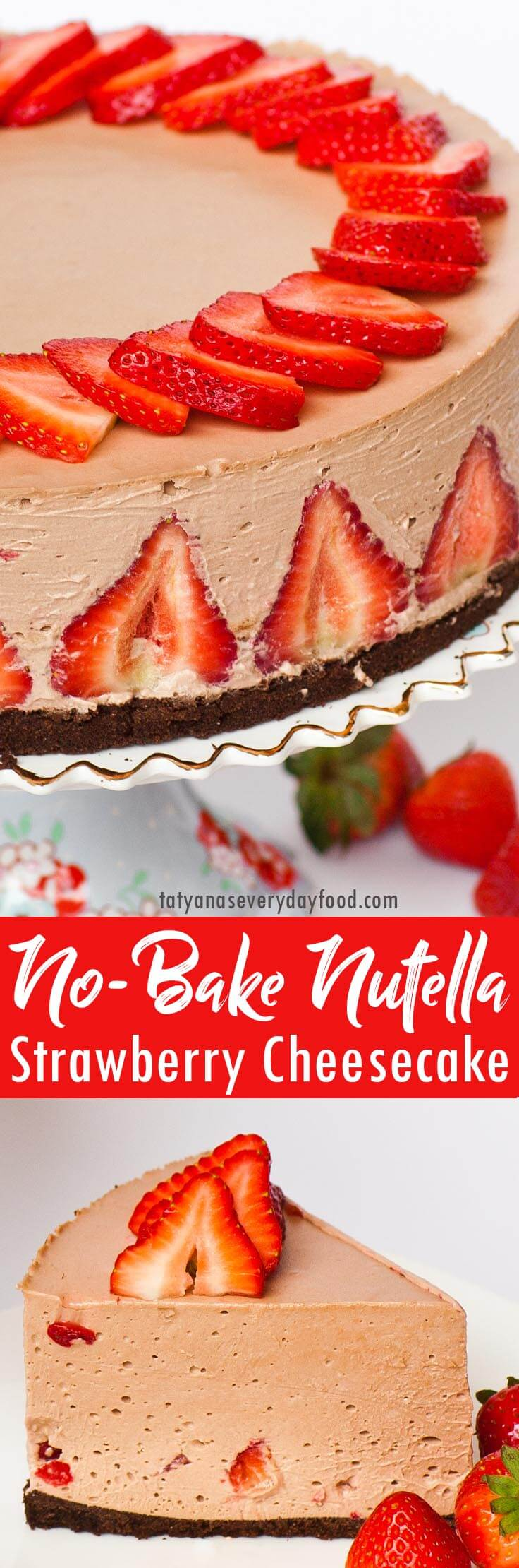 No-Bake Strawberry Nutella Cheesecake video recipe