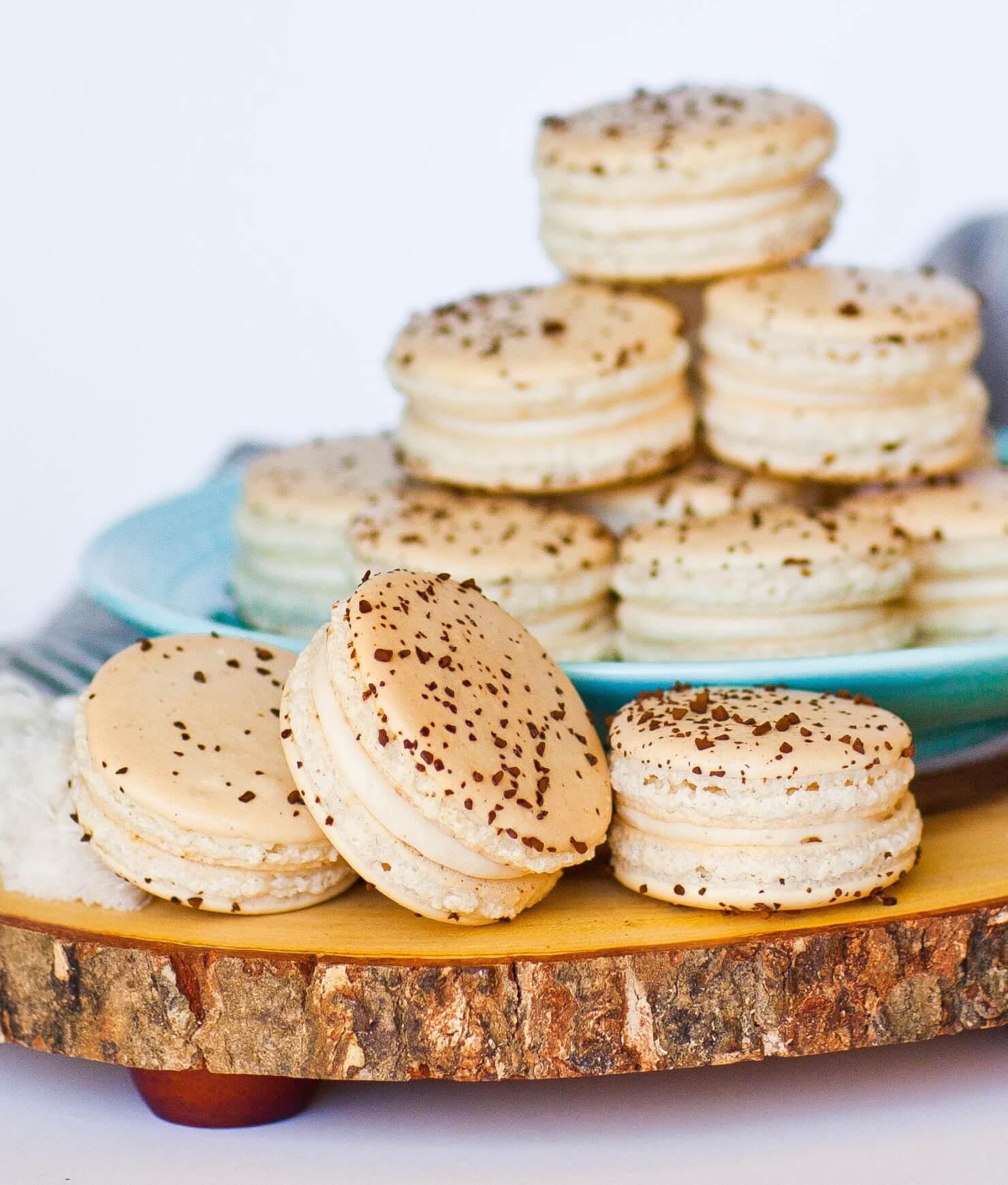 tiramisu macarons on tray