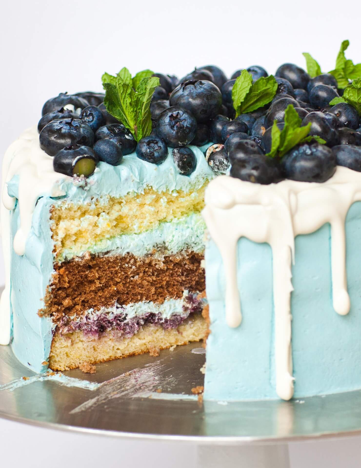 chocolate blueberry lemon cake with white chocolate