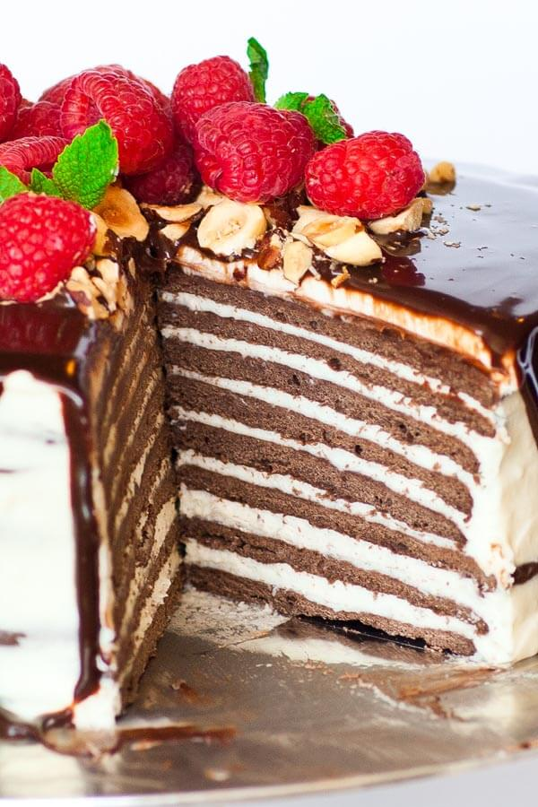 8 layer chocolate spartak cake with raspberries