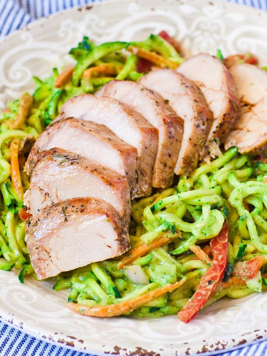 Juicy Pork with Avocado Zoodles (video)