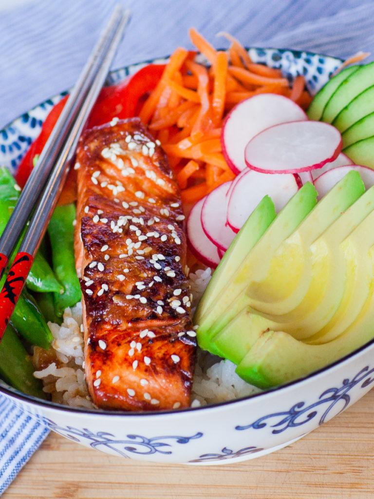 Teriyaki salmon seafood recipe with veggies
