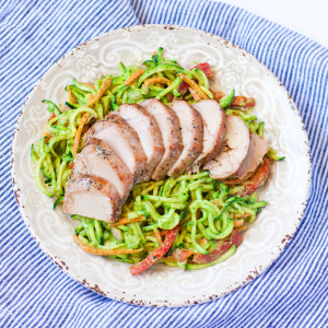 Garlic & Herb Sirloin with Avocado Zoodle Salad