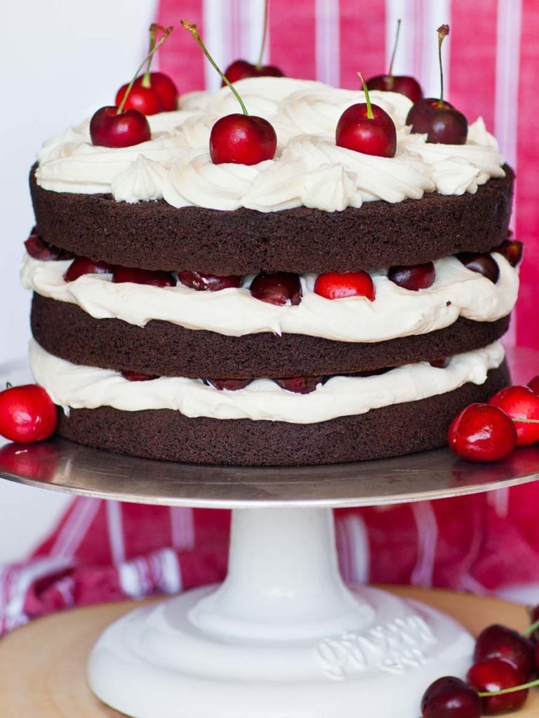 classic black forest cake with cream cheese frosting