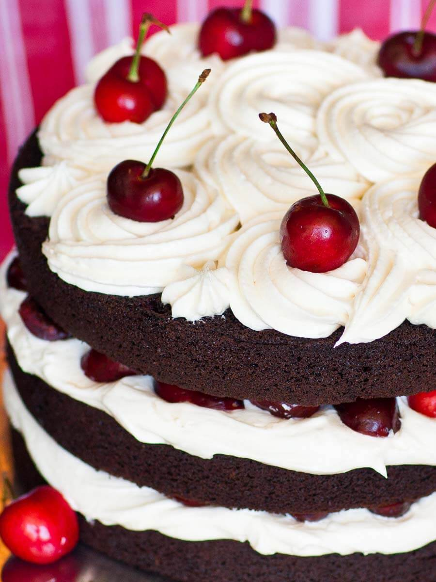 chocolate cherry cake with kirsch liqueur and cream cheese frosting