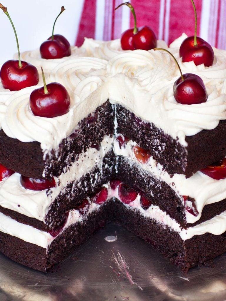 Black Forest Chocolate Cherry Cake with fresh cherries