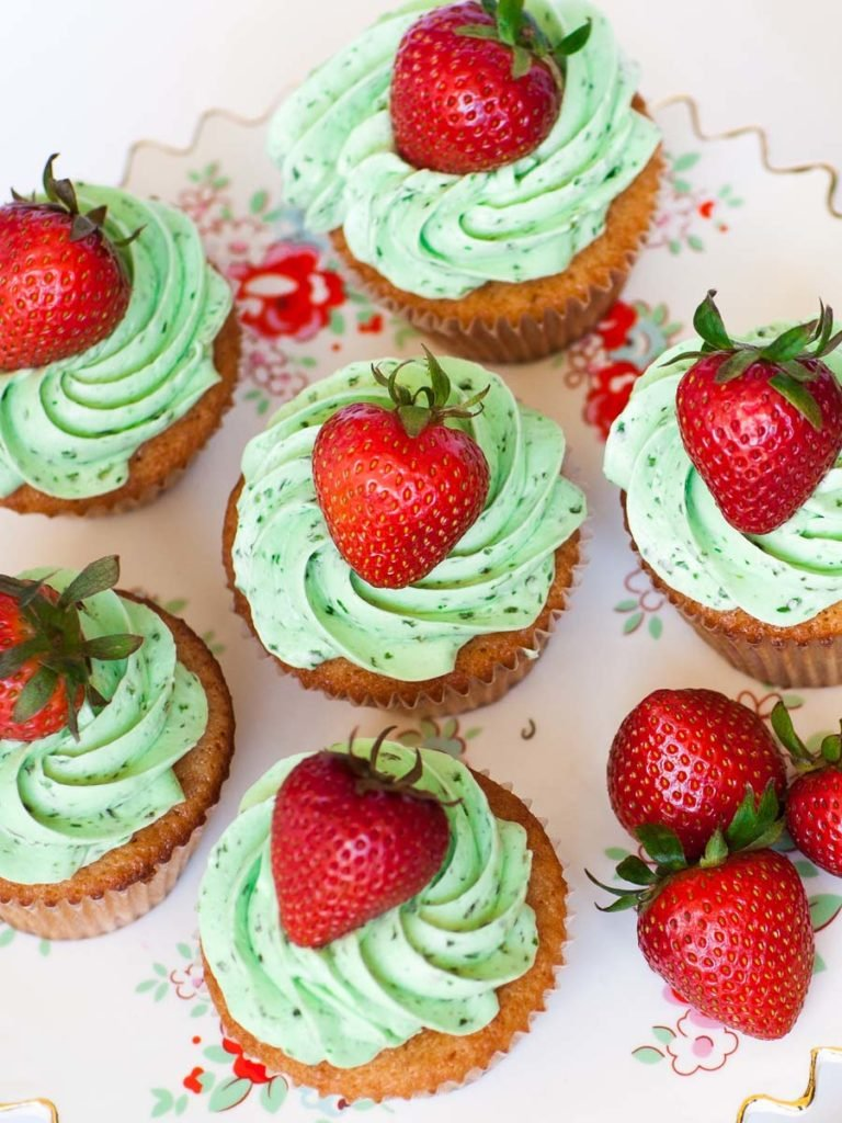 basil strawberry cupcakes with basil frosting