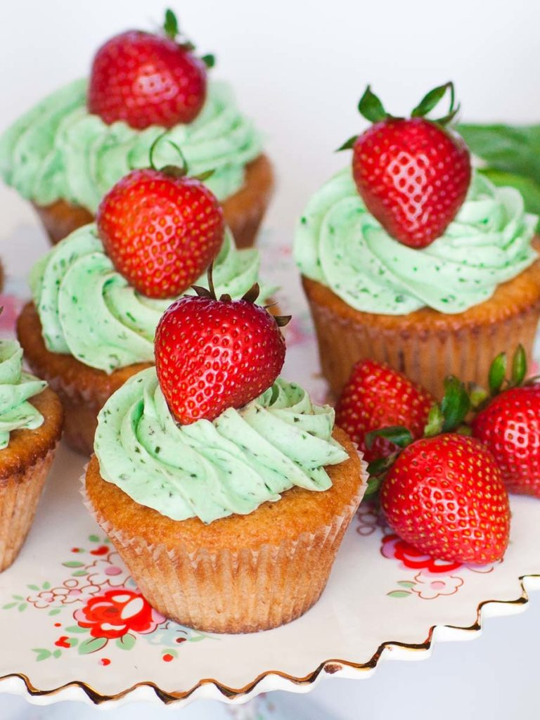 Strawberry Basil Cupcakes with fresh strawberries