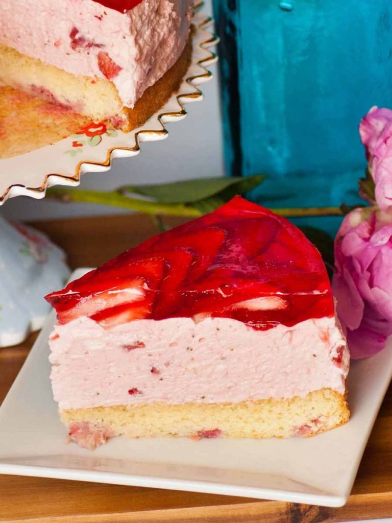 slice of strawberry mousse cake on plate