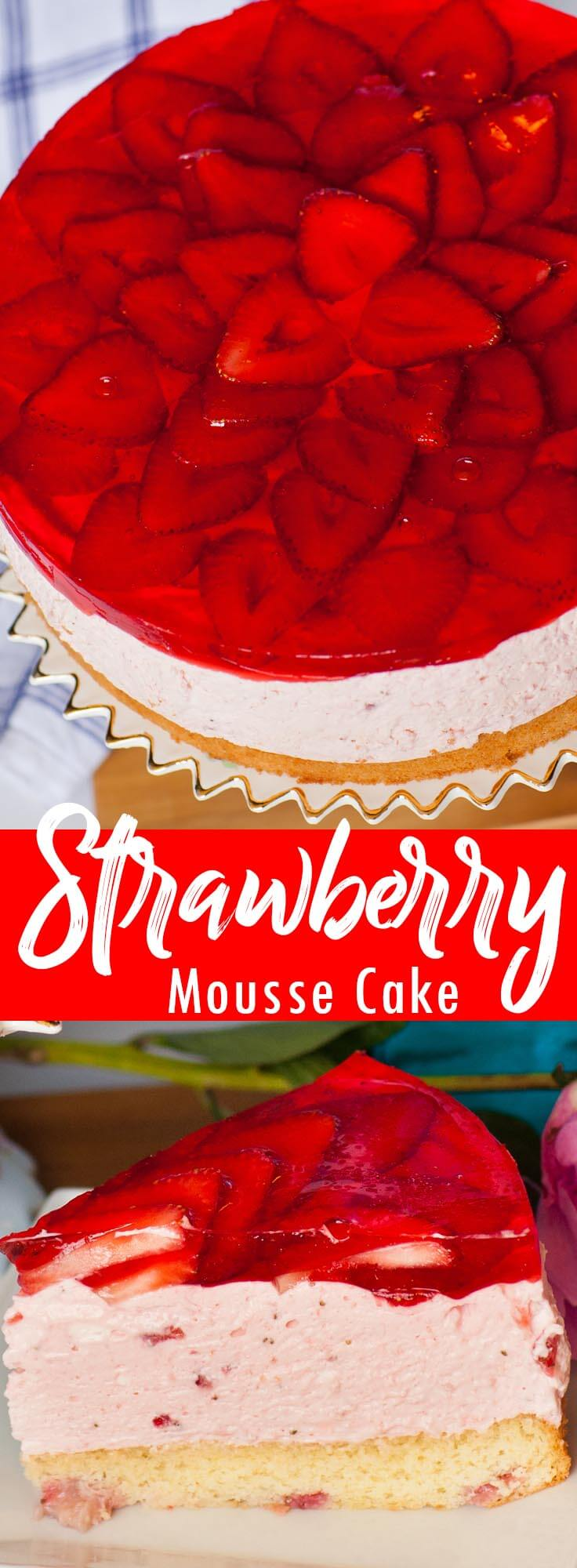 Strawberry Mousse Cake video recipe board