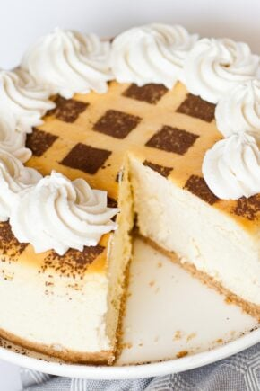 tiramisu cheesecake with whipped cream