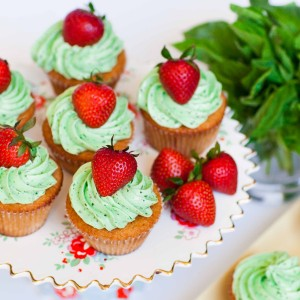 Strawberry Cupcakes with Basil Buttercream