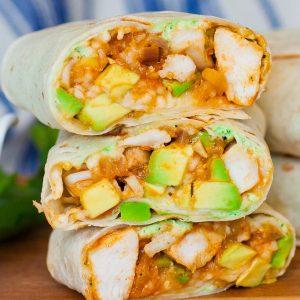 chicken burritos with avocado